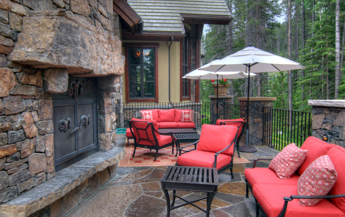Outdoor residential patio fireplace