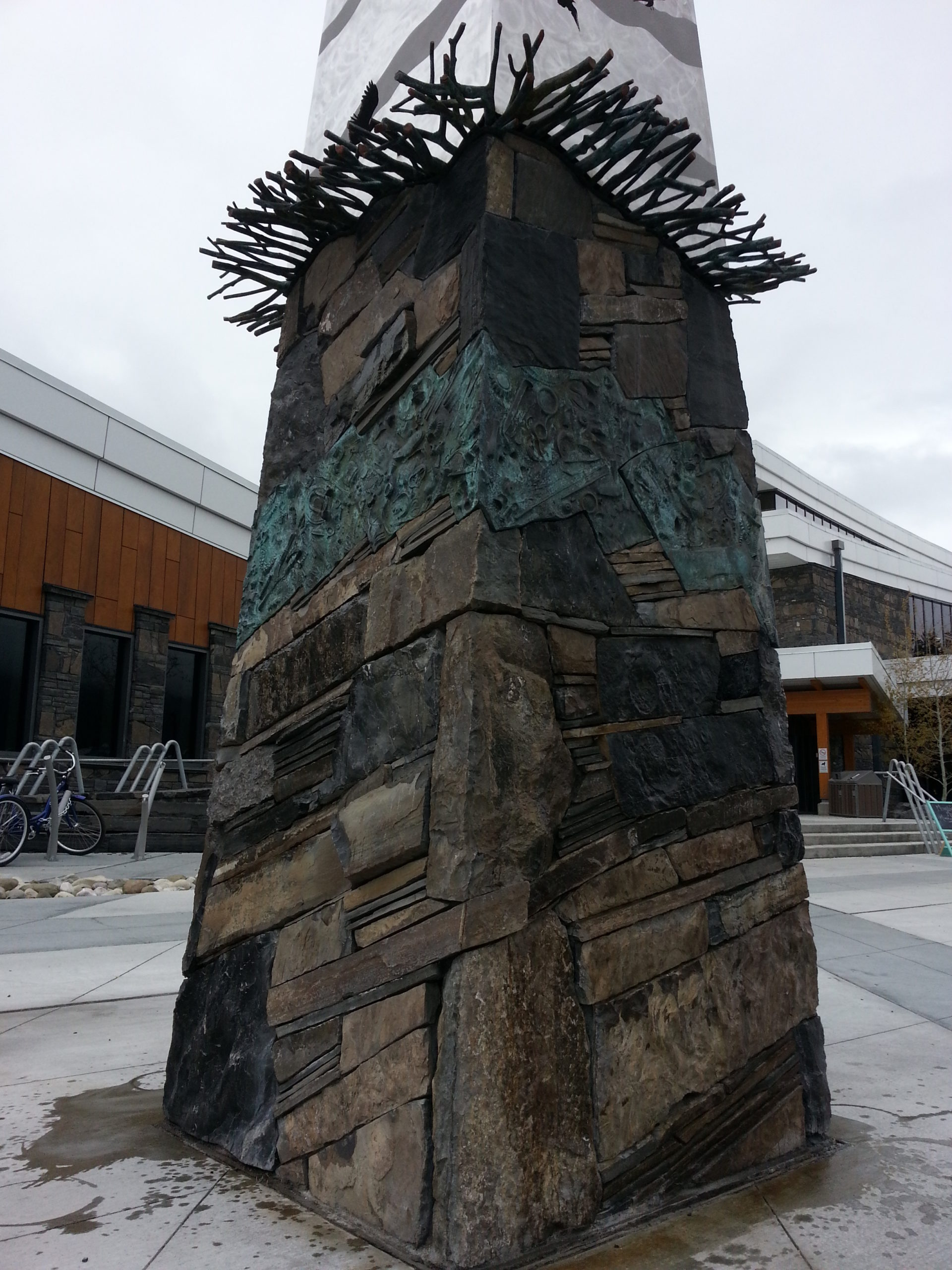 """Public art piece, Elevation place, Canmore """"Touchstone"""" project collaboration with Canadian artist, Peter Powning"""