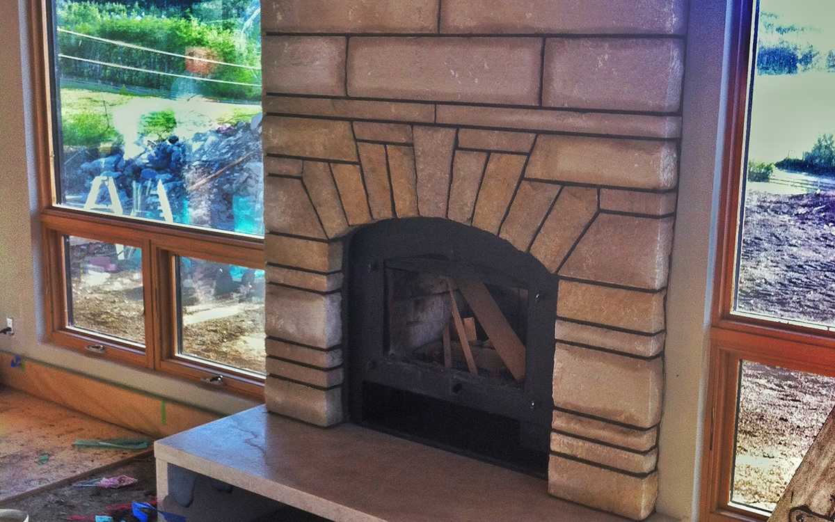Residential Fireplace – Limestone contemporary design